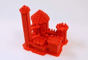 Castle model created at the Urbana Free Library. 3D printed model.